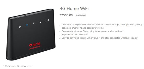 Bharti Airtel 4G Home Wi-Fi Router Now Costs ₹2500 After Price Cut