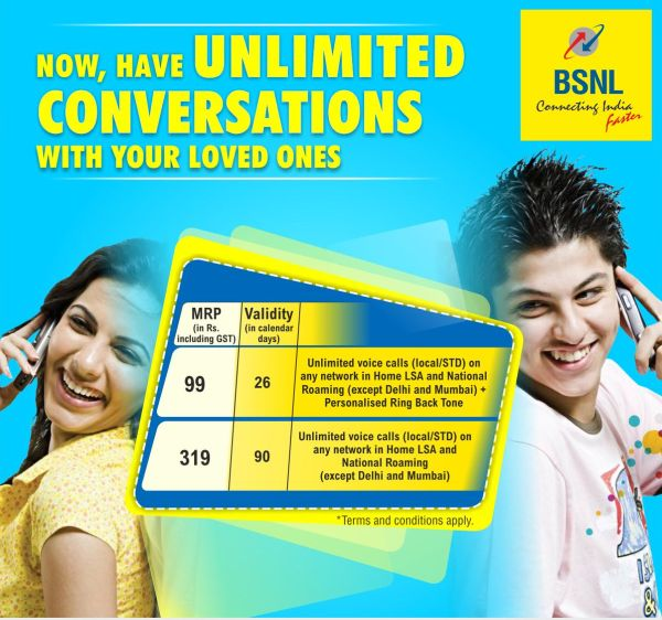 BSNL Launches ₹99 Unlimited Plan with 26 Days Validity - Telecomm in